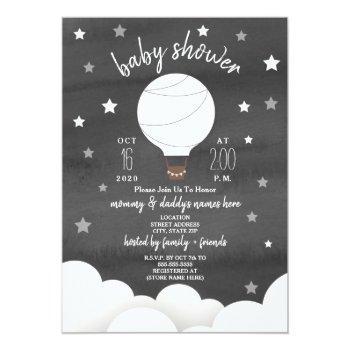 White Hot Air Balloon + Stars Black + White Shower Invitation