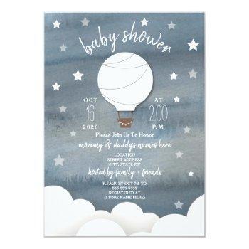 White Hot Air Balloon + Stars Neutral Baby Shower Invitation