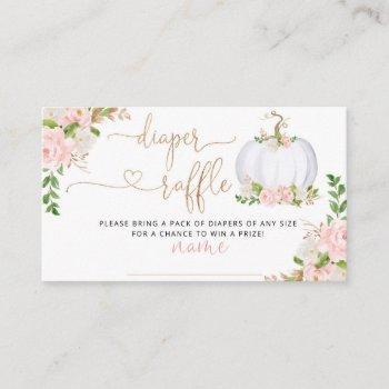 White Little Pumpkin Fall Diaper Raffle Ticket Enclosure Card