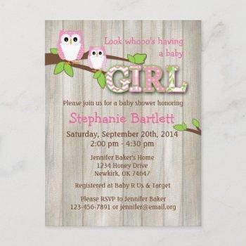 White Owl Chevron Baby Shower Invitation