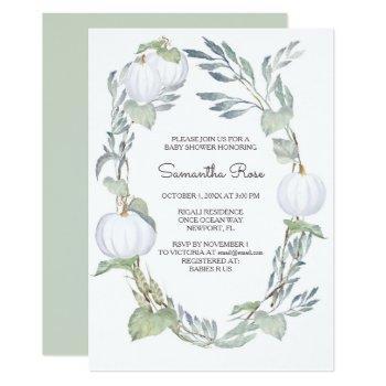 White Pumpkin Greenery Baby Shower Invite