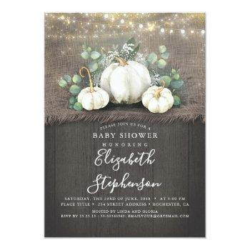 White Pumpkins Rustic Country Fall Baby Shower Invitation