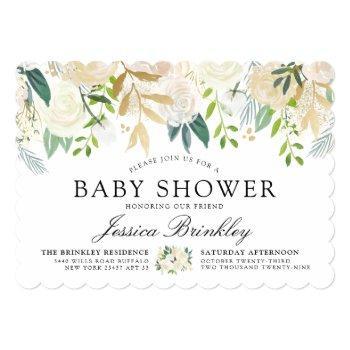 White Rose Bouquet | Baby Shower Invitation