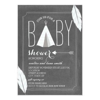 White Tipi + Feathers Baby Shower Invitation