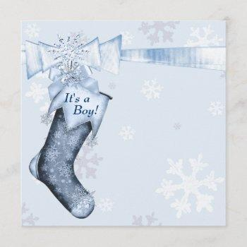 White Winter Blue Snowflakes Baby Boy Shower Invitation