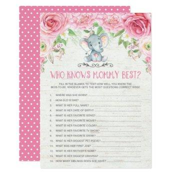 Who Knows Mommy Best Elephant Baby Shower Game Invitation
