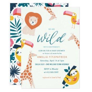 Wild Jungle Animal Baby Shower | White Invitation