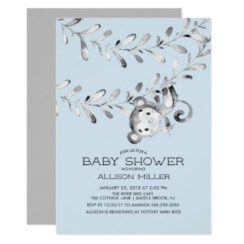 Wild Little Monkey Baby Shower Invitation