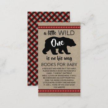 Wild One Boys Baby Shower Book Request Enclosure Card