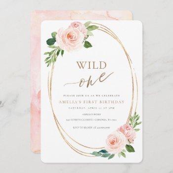 Wild One Floral First Birthday Invitation Girl