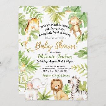 Wild One Jungle Animals Boy Baby Shower Invitation