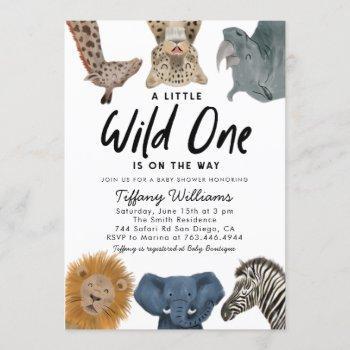 Wild One Safari Animals Gender Neutral Baby Shower Invitation