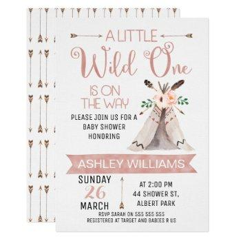 Wild One Watercolor Baby Shower Invitation