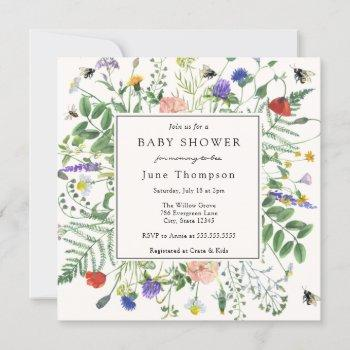 Wildflower Fields And Honey Bees Baby Shower Invitation