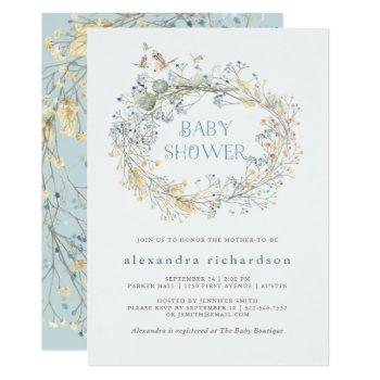 Wildflower Wreath With Butterfly   Baby Shower Invitation