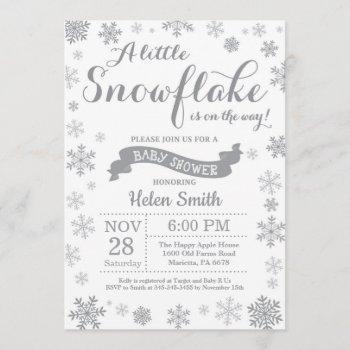 Winter Baby Shower  Gray Snowflake