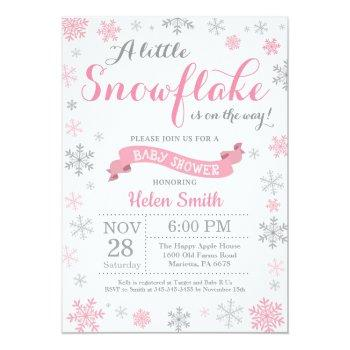 Winter Baby Shower Invitation Pink Snowflake