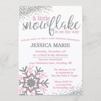 Winter Baby Shower Invitation - Pink Snowflake