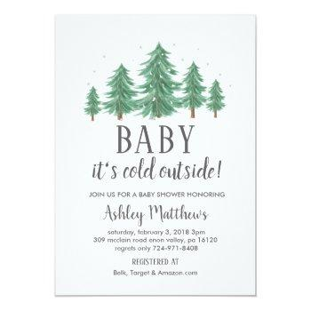 Winter Baby Shower Invite, Evergreen Trees, Cold Invitation