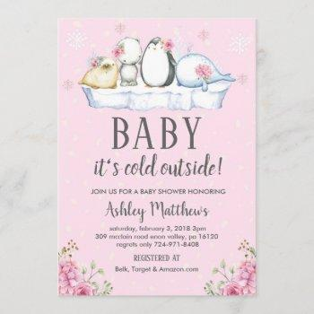 Winter Baby Shower Invite, Winter Animals Arctic Invitation