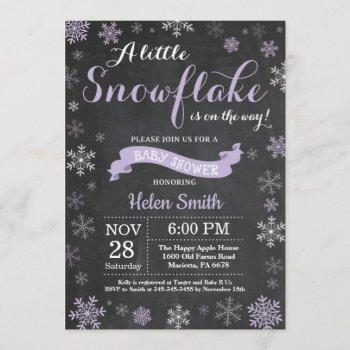 Winter Baby Shower Purple Snowflake Chalkboard Invitation