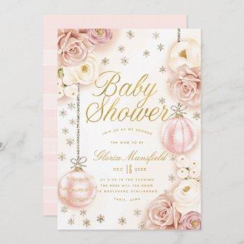Winter Blush Pink Floral Baby Shower Invitation