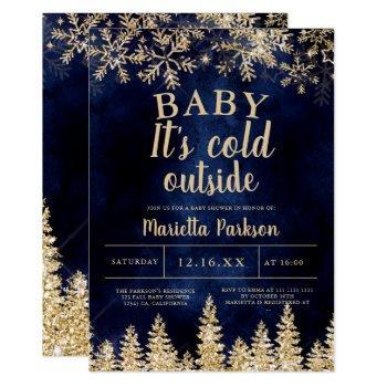 Winter Christmas Gold Snow Pine Navy  Baby Shower Invitation