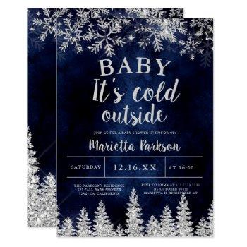 Winter Christmas Silver Snow Pine Navy Baby Shower Invitation