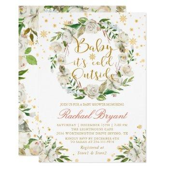 Winter Floral Baby Its Cold Outside Baby Shower Invitation