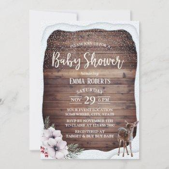 Winter Floral Cute Deer Baby Shower Invitation