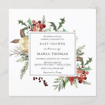 Winter Florals And Evergreen Baby Shower Invitation