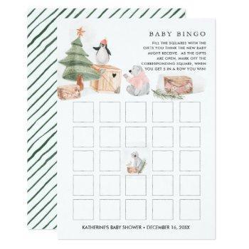 Winter Friends   Christmas Baby Shower Bingo Invitation