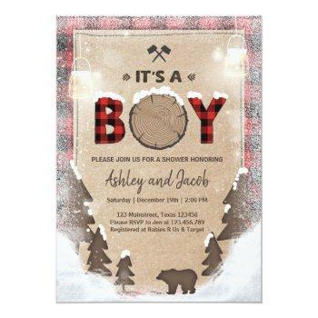 Winter Lumberjack Baby Shower Rustic Boy Plaid Invitation