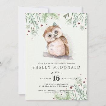 Winter Owl Baby Shower Invitation