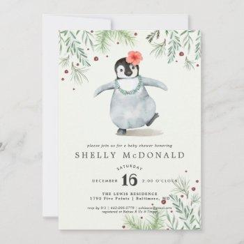 Winter Penguin Baby Shower Invitation