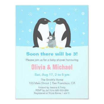 Winter Penguin Family Baby Shower Invitations