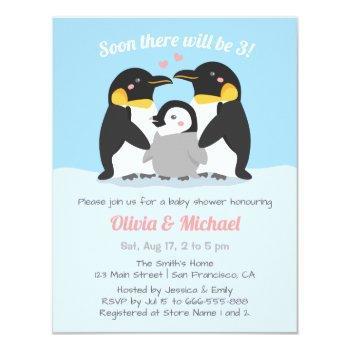 Winter Penguin Family Of Three Baby Shower Invitation