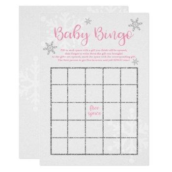 Winter Pink And Silver Snowflake Baby Bingo Invitation