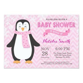 Winter Pink Penguin Girl Baby Shower Invitation