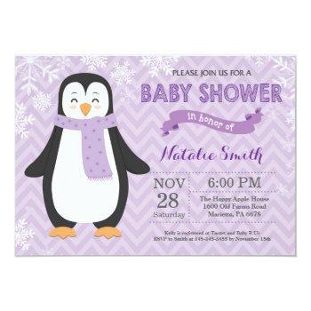 Winter Purple Penguin Girl Baby Shower Invitation