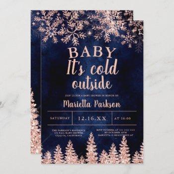 Winter Rose Gold Snow Pine Navy Baby Shower Invitation