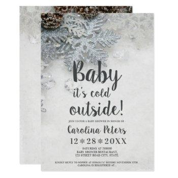 Winter Silver Snow Typography Baby Shower Invitation