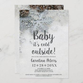 Winter Silver Snow Typography Baby Shower Invitation