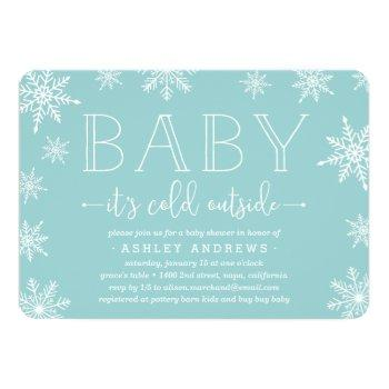 Winter Snowfall Baby Shower Invitation | Aqua