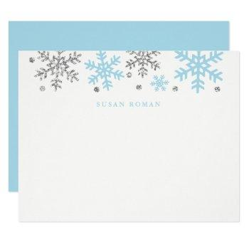 Winter Snowflake Blue/silver Flat Note Card