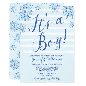 Winter Snowflake Stripes Boy Baby Shower Invites