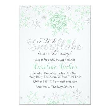 Winter Snowflakes Baby Shower Mint Green & Silver Invitation