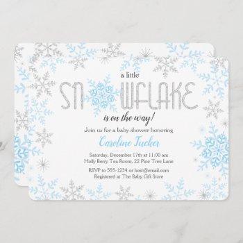 Winter Wonderland Baby Shower Blue Silver Glitter