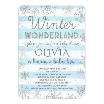 Winter Wonderland Baby Shower Invitation Boy Blue
