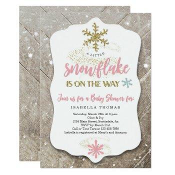 Winter Wonderland Snowflake Theme Girl Baby Shower Invitation